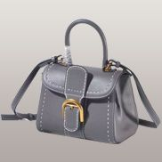 Suzanne Horseshoe Buckle Leather Small Bag Grey