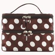 Naomi Double Layer Cosmetic Case Polka Dot Brown