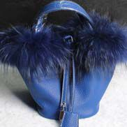 Theresa Leather Bag With Fur Blue
