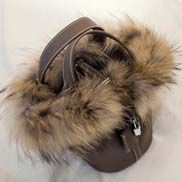 Theresa Leather Bag With Fur Dark Grey