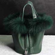 Theresa Leather Bag With Fur Green