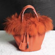 Theresa Leather Bag With Fur Orange
