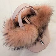 Theresa Leather Bag With Fur Pink