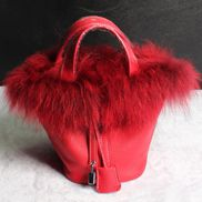 Theresa Leather Bag With Fur Red
