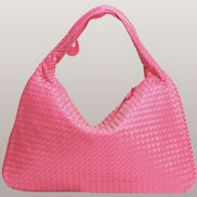 La Scalla Woven Hobo Hot Pink