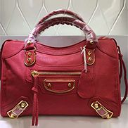 The Route 66 Goatskin Leather Medium Bag Red Gold Hardware