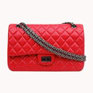 Adele Flap Bag Cowhide Leather Red