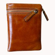 Tina Vintage Oil Wax Cowhide Zip Wallet Camel