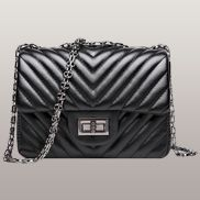 Adele Flap Mini Bag V Shape Quilted Faux Leather Black
