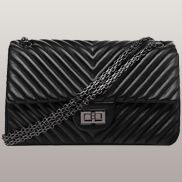 Adele Flap V Shape Quilted Medium Bag Faux Black
