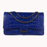 Adele Flap Bag Croc Effect Leather Blue