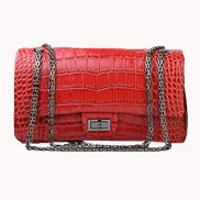 Adele Flap Bag Croc Effect Leather Red