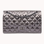 Adele Flap Bag Raindrop Effect Leather Grey Sliver