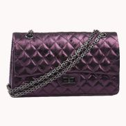 Adele Flap Bag Raindrop Effect Leather Purple