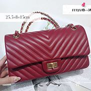 Adele V Shape Lambskin Leather Flap Bag Burgundy