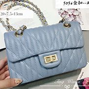Adele Quilted Lambskin Leather Flap Mini Bag Blue