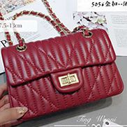Adele Quilted Lambskin Leather Flap Mini Bag Burgundy