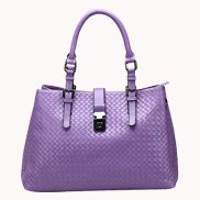 Natalie Weave Effect Leather Shoulder Bag Light Purple