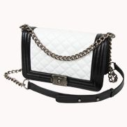 Ingrid Quilted Small Leather Bag Black And White
