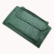 Elizabeth Python Leather Clutch Wallet Green