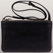 Geri Small Three Layer Leather Shoulder Bag Black