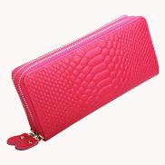 Super Organizer Purse Croc Effect Leather Hot Pink