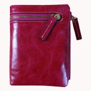 Tina Vintage Oil Wax Cowhide Zip Wallet Hot Pink