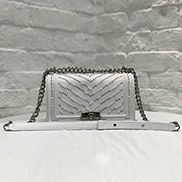 Ingrid Leather Flap Bag With Pearls White