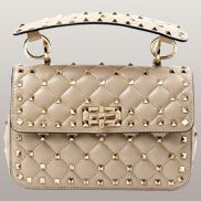 Jacqueline Studs Leather Shoulder Bag Beige