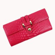 Maggie Tri-Folds Wallet In Snake Effect Leather Hot Pink