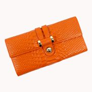 Maggie Tri-Folds Wallet In Snake Effect Leather Orange