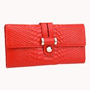 Maggie Tri-Folds Wallet In Snake Effect Leather Red