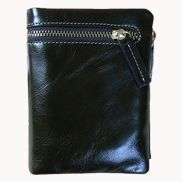 Tina Vintage Oil Wax Cowhide Zip Wallet Black