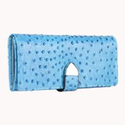 Nina Wallet In Ostrich Cowhide Leather Blue