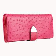 Nina Wallet In Ostrich Cowhide Leather Hot Pink