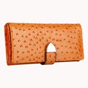 Nina Wallet In Ostrich Cowhide Leather Orange
