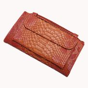 Elizabeth Python Leather Clutch Wallet Orange