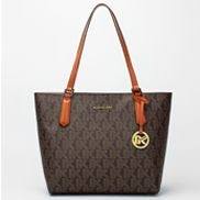 Rosann Monogram Canvas With Brown Leather Trim Shoulder Bag