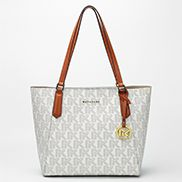 Rosann Monogram Canvas With Brown Leather Trim Shoulder Bag White