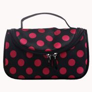 Soho Cosmetic Bag Polka Dot Black With Hot Pink
