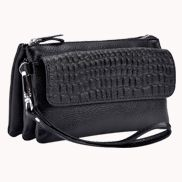 Super Three Pockets Purse Croc Effect Leather Black