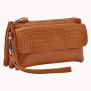 Super Three Pockets Purse Croc Effect Leather Brown