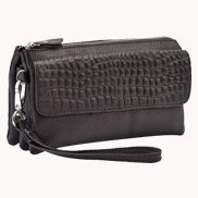 Super Three Pockets Purse Croc Effect Leather Chocolate