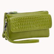 Super Three Pockets Purse Croc Effect Leather Green