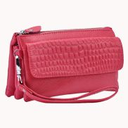 Super Three Pockets Purse Croc Effect Leather Hot Pink