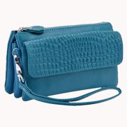 Super Three Pockets Purse Croc Effect Leather Light Blue