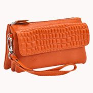 Super Three Pockets Purse Croc Effect Leather Orange