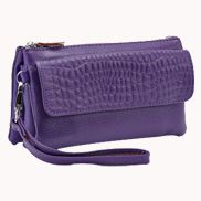 Super Three Pockets Purse Croc Effect Leather Purple