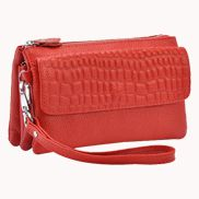Super Three Pockets Purse Croc Effect Leather Red