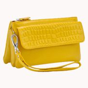 Super Three Pockets Purse Croc Effect Leather Yellow